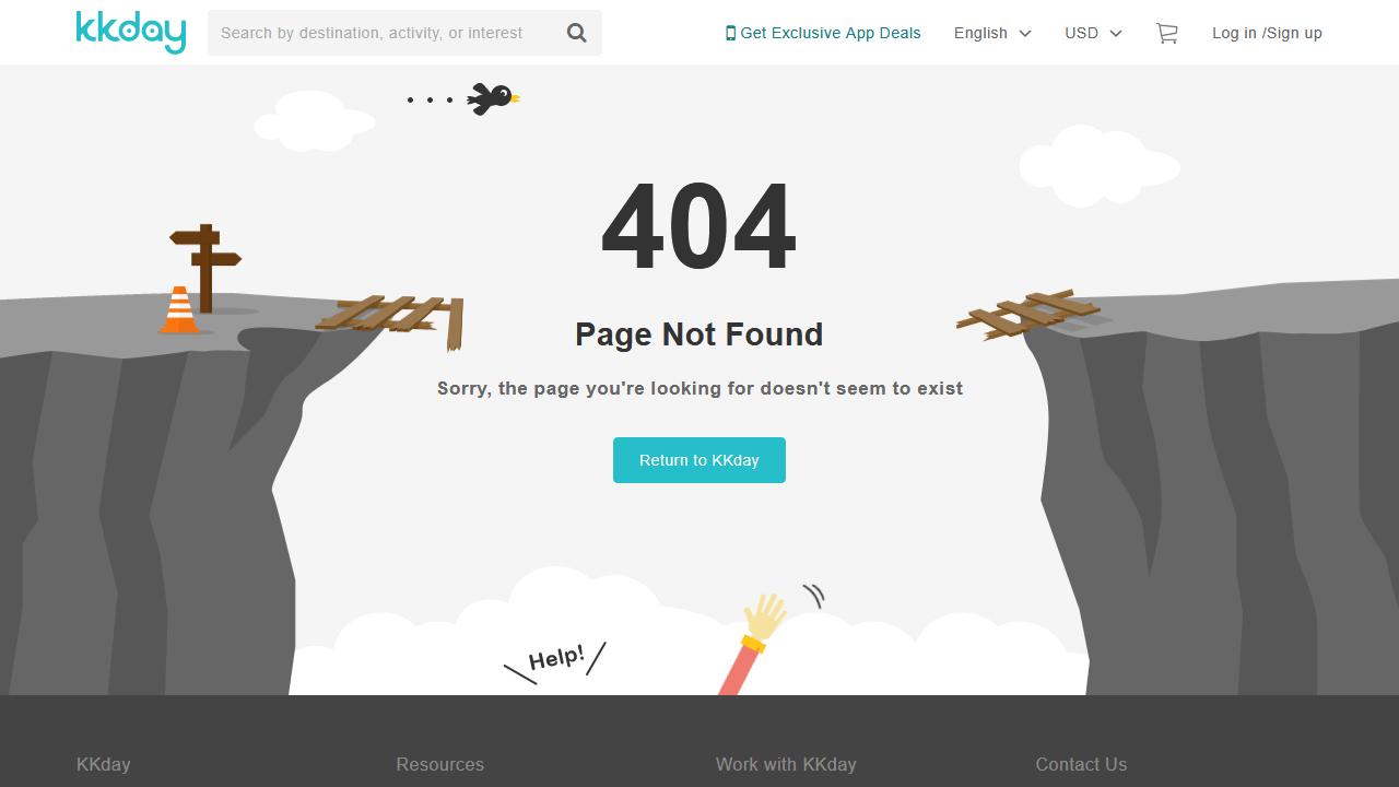 kkday.com 404 page