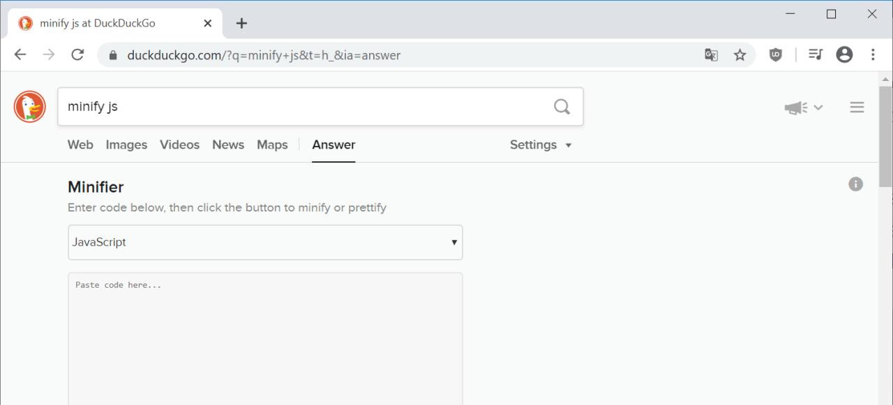DuckDuckGo: Minify JS