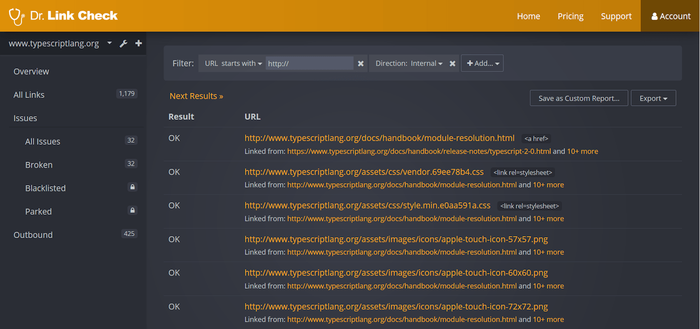 HTTP Links: Report